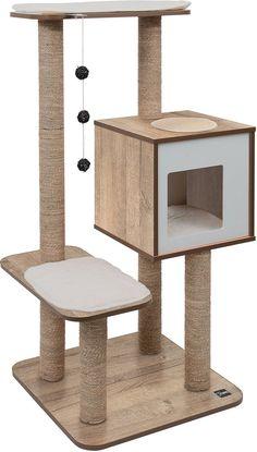 $119 | Vesper High Base 47.8-in Modern Cat Tree & Condo, Oak - Chewy.com Cat Tree Condo, Cat Condo, Sisal, Modern Cat Furniture, Boston Furniture, Cool Cat Trees, Cat Playground, Types Of Carpet, Cat Room