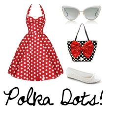 """Classic Polka Dot"" by the-may-bae ❤ liked on Polyvore featuring Betsey Johnson, Dita, women's clothing, women, female, woman, misses and juniors"