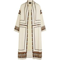 Isabel Marant Bering embellished wool coat ($3,975) ❤ liked on Polyvore featuring outerwear, coats, jackets, white, white woolen coat, embellished coat, wool coat, sequin coat and isabel marant coat