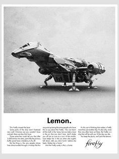 "Spoke Art's Justin Van Genderen Prints Recreate Volkswagen ""Lemon"" Ad with Millennium Falcon and Firefly Firefly Ship, Firefly Art, Firefly Serenity, Firefly Series, Spoke Art, Joss Whedon, Sci Fi Fantasy, Buffy, So Little Time"