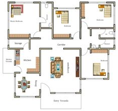Free House Plans, Family House Plans, Small House Plans, Bungalow House Design, Small House Design, Kuta, Modern Wooden Furniture, Architectural House Plans, Model House Plan
