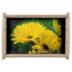 Yellow Gerber Daisies Black Border Server's Tray from Florals by Fred #zazzle #gift