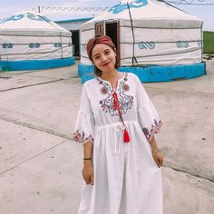 Type: Dress Collar type: Round Neck Waist type: Loose Pattern: Plain Material: Cotton Season:Spring,Autumn Color:White Size:One Size Bohemia Dress, Ethnic Style, Types Of Collars, Ethnic Fashion, Collar Dress, Holiday Dresses, Silk Dress, Cover Up, Sleeves