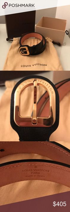 Louis Vuitton Black Belt Louis Vuitton authentic black belt with gold clasp. Size 75/30 (x-small). Louis Vuitton Accessories Belts