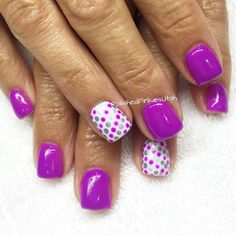 Polished Pinkies Utah: happy nail art for spring or summer! Purple and silver were made for each other in this simple yet stunning nail design. Gel polish, gel nails, shellac, nail art, spring nails, summer nails, fun nails.