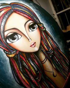 Blood Art, Arte Pop, Art Journal Inspiration, Big Eyes, Face Art, Mixed Media Art, Acrylics, Paper Dolls, Pop Art