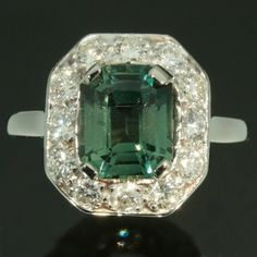 Trendy Diamond Rings : Green tourmaline diamond ring