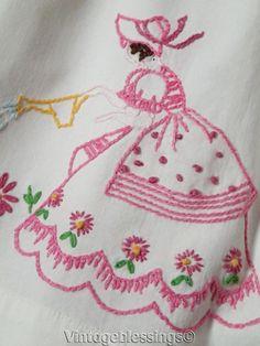 5/6T Girls SPRINGTIME Pillowcase DRESS Vintage Embroidery #Handmade