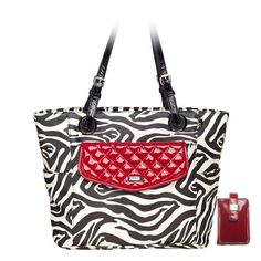 Grace Adele Sarah in zebra print and Jane Clutch in red