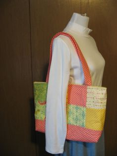 Large Quilted Tote Bag.  Coral green and yellow patchwork with cream colored Kona cotton lining.