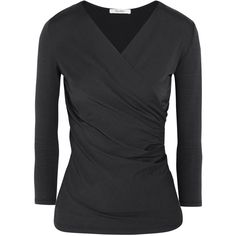 Max Mara Stretch-jersey wrap-effect top ($230) ❤ liked on Polyvore featuring dark gray, maxmara and stretch jersey