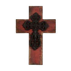 Distressed Red Wooden Cross Plaque | Kirklands