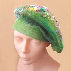 Meadow Felt Hat Beret Felted Beret Hat OOAK by rokdarbi4u on Etsy, $48.00