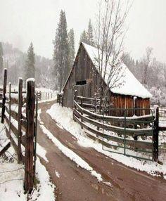Beautiful barn in winter.