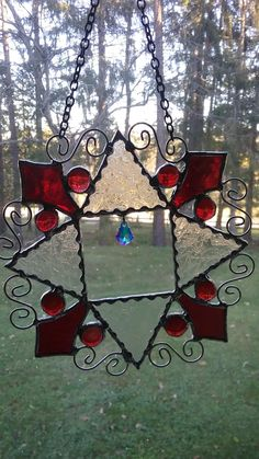 Beautiful Stained Gl Snow Flake Red Nuggets And A Crystal Tear Drop Really Add Great