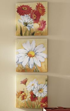 Summer Interior Design Tips Canvas Wall Art, Canvas Prints, Three Canvas Painting, New Home Gifts, Painting Inspiration, Flower Art, Daisy, Wall Decor, Drawings