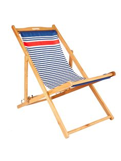 Buy John Lewis & Partners Coastal Stripe Deckchair Sling, Blue/Multi from our Garden Seating range at John Lewis & Partners. Outdoor Chairs, Outdoor Furniture, Outdoor Decor, British Seaside, Cool Deck, Garden Seating, Coastal, Contemporary, Cool Stuff