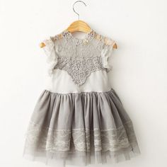 "The """"Isabelle"""" Gray Lace Dress"