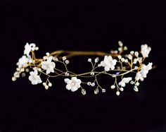 Bridal flower crown, White flower crown, bridal hair accessories, wedding tiara, gold wedding hair accessories, Hair Wreaths---- we could ask this artist if she could create a comb instead of crown. These look super similar! So delicate and pretty! Check out her other wedding accessories!
