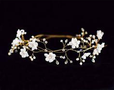 Hochzeitssuite Blume Krone, weiße Blume Krone, Braut Haarschmuck, Hochzeit Diadem Goldene Hochzeit Haarschmuck, Haar-Kränze