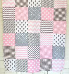 Baby Girl Blanket Nursery Decor Crib Bedding by theredpistachio