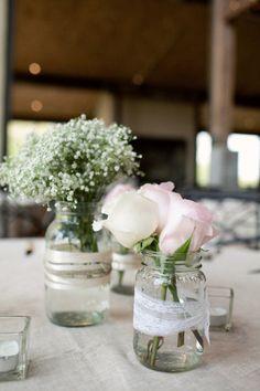 Lace, Mason Jars, Simple Flowers.