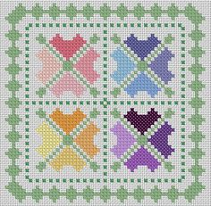 Patchwork Hearts cross stitch pdf chart pattern by TheEndlessKnot, £3.00