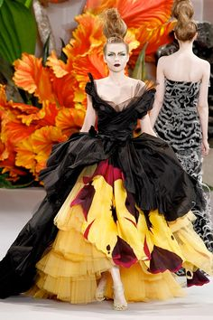 For the Christian Dior Couture Fall 2010 showing, John Galliano transformed his models into walking tulips, tigerlillies and orchids. The result: a breathtaking garden of feminine delights, where even the shoes were tendrils that twined around the models' feet.