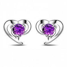 Xenia Women's Purple 925 Silver 0.80.8cm Diamond Luring Earrings