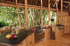 Hotels & Resorts, Beautiful Bamboo Houses in Green Village, Bali by Ibuku: Ayung House Stone And Bamboo Kitchen