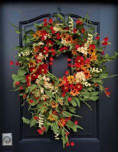 Autumn Wreaths For Front Door, Front Door Decor, Country Wreaths, Summer Door Decorations, Etsy Wreaths, Modern Wreath, Outdoor Wreaths, Summer Wreath, Spring Wreaths