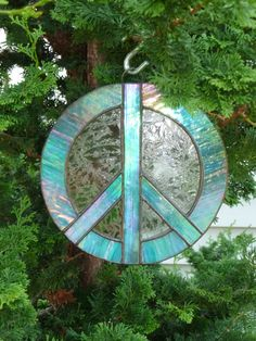 Iridescent stained glass peace sign