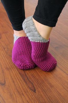 Crocheted and Knitted Slippers and Booties Saratoga Slippers Pattern