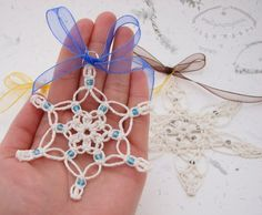 Macrame snowflakes. Perfect for Christmas tree!