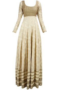 Beige and copper embroidered jalabiya anarkali available only at Pernia's Pop-Up Shop.