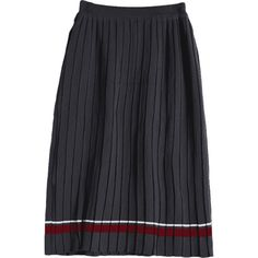 High Waist Striped Knitted Pleated Skirt Gray ($20) ❤ liked on Polyvore featuring skirts, knee length pleated skirt, high-waisted skirt, high rise skirts, high-waist skirt and grey pleated skirt