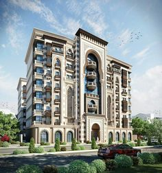 Project: Commercial & Residential Building Owner: SHEIKH ALI KHALIFA AL THANIClient: millet international architecture engineeringScop Of Work: Elevations Proposal, modeling & Visualization High Building, Classic Building, Building Facade, Building Exterior, Building Design, Mosque Architecture, Classical Architecture, Residential Architecture, Architecture Design