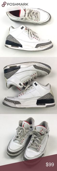 278ca9fd07b Nike Jordan White Cement 3 136064-105 10 A76 Pre owned Nike Shoes Sneakers  White