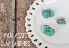 DIY Faux Agate Polymer Clay Earrings pitterandglink.com