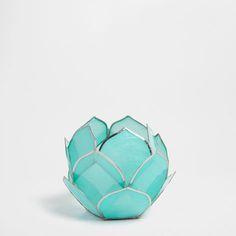 Tealight Bleu Fleur Nacre - Tealights - Décoration   Zara Home France