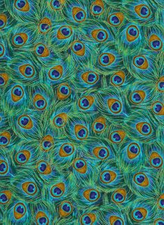 Packed Peacock Feather in Jade - Timeless Treasures -  Cotton Quilting Fabric - 1 yard. $9.75, via Etsy.