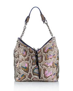 JIMMY CHOO Raven Small Iridescent Python Hobo Bag, Beige. #jimmychoo #bags #shoulder bags #leather #hobo #lining #