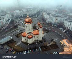 Aerial View Of The Orthodox Cathedral Of Braila City On A Foggy Day - Image by Craitza Photo Illustration, Aerial View, New Pictures, Royalty Free Photos, Romania, Cathedral, Photo Editing, City, Image