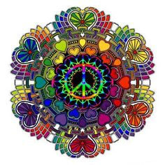 DIFFERENT COLORED HEARTS ALL AROUND, BIG AND SMALL, AND A MULTI-COLORED PEACE SIGN IN THE CENTER.