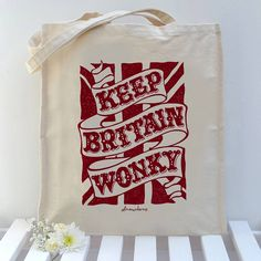 Soooooo want this 'Keep Britain Wonky' Union Jack Tote Bag - bags, purses & wallets Typography Inspiration, Graphic Design Inspiration, Quote Prints, Thoughtful Gifts, Artsy Fartsy, Britain, Screen Printing, Handmade Gifts, Paper