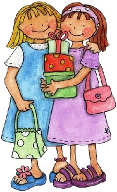 Forever Friends, yes! thank you for the nice gifts! I'll carry your's also its the nice big green one from me! Decoupage, Illustrations, Illustration Art, My Best Friend, Best Friends, Sister Friends, Clip Art, Pintura Country, Visiting Teaching