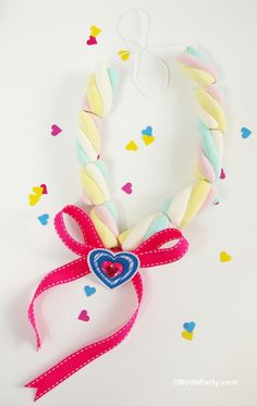 Bird's Party Blog: Valentine's Crafts for Kids: DIY Marshmallow Necklace