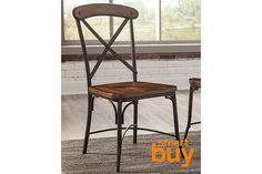 Rustic wood finish paired with weatherworn-style metal offers a dual serving of vintage charm that's as fresh as ever. Bracket-style details and striking metal crossbar back add a hint of industrial flavor to the Rolena dining room chair.