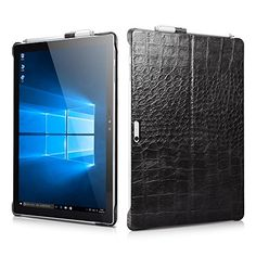 nice Surface Pro 4 Case, Icarercase Crocodile Series Genuine Leather Back Cover with Pen Holder and Stand Function for Microsoft Surface Pro 4 12.3 Inch, Compatible with Surface Pro 4 Original Keyboard (Black) 
