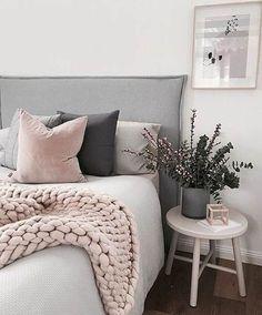 Gris y rosa para un dormitorio soft